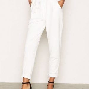 Nly Trend Dressed Tie Pants Housut Valkoinen