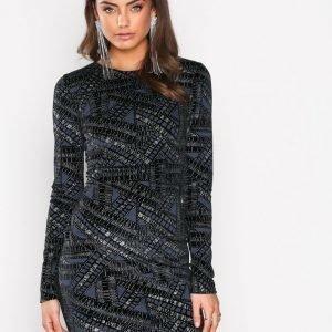 Nly Trend Famous Mini Dress Kotelomekko Silver / Blue