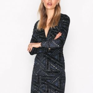 Nly Trend Famous V Drop Dress Kotelomekko Silver / Blue