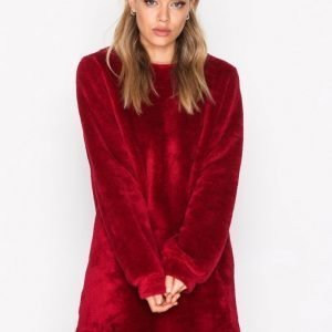 Nly Trend Faux Fur Fluffy Sweat Svetari Burgundy