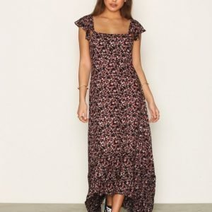 Nly Trend Floral Open Back Dress Loose Fit Mekko Kukkainen