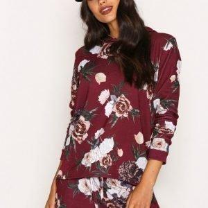 Nly Trend Flower Hoodie Huppari Burgundy