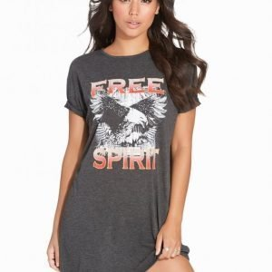 Nly Trend Free Spirit Tee Dress Loose Fit Mekko Grey Melange