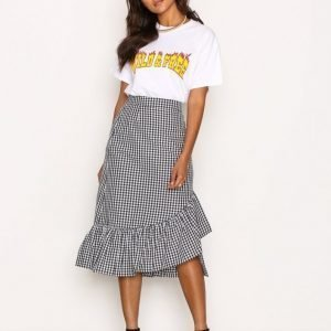 Nly Trend Frill Check Skirt Midihame Musta / Valkoinen