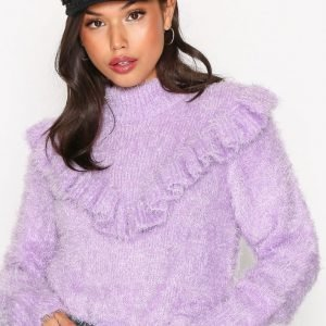 Nly Trend Frill Knit Sweater Neulepusero Violetti