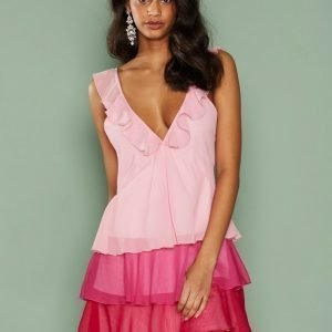 Nly Trend Frill Mini Dress Loose Fit Mekko Vaaleanpunainen