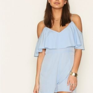 Nly Trend Frill Off Shoulder Play Suit Playsuit Sininen