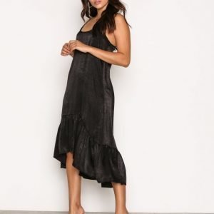Nly Trend Frill Slip Dress Loose Fit Mekko Musta