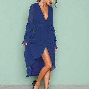 Nly Trend Frill V Neck Dress Loose Fit Mekko Sininen