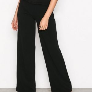 Nly Trend Frill Wide Pants Housut Musta