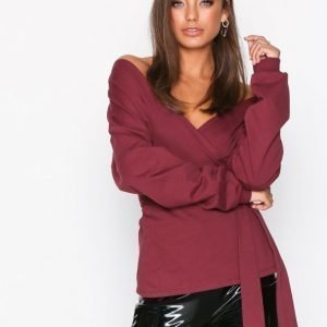 Nly Trend Front And Back Sweat Svetari Burgundy