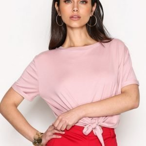 Nly Trend Front Knot Tee T-Paita Dusty Pink