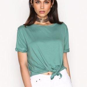 Nly Trend Front Knot Tee T-Paita Khaki