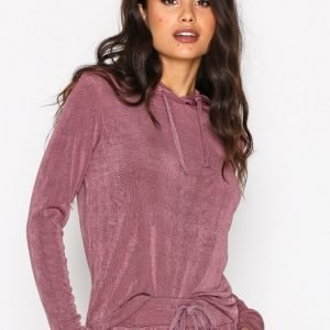 Nly Trend Glam Hoodie Set Jumpsuit Rose Berry
