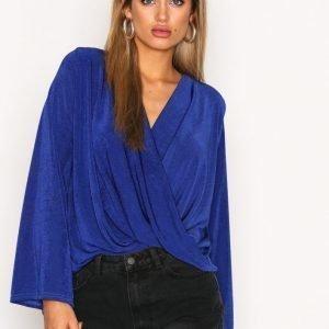 Nly Trend Glam Wide Wrap Top Pitkähihainen Paita Cobolt Blue