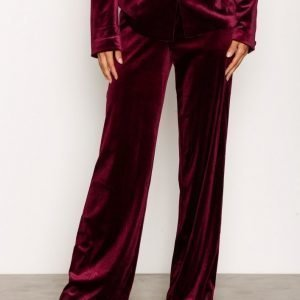 Nly Trend Have It All Velvet Pants Housut Burgundy