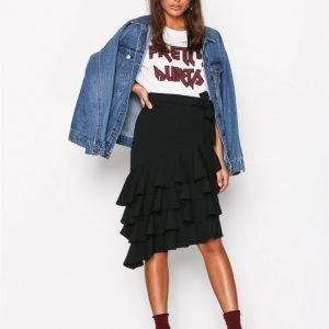 Nly Trend High Low Skirt Midihame Musta