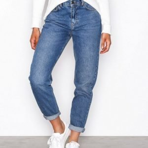 Nly Trend High Waist Vintage Denim Straight Farkut Blue Jeans