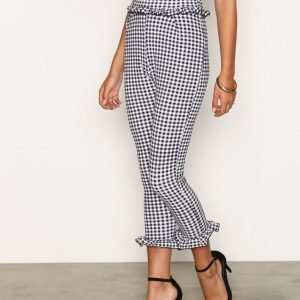 Nly Trend Jersey Frill Pants Housut Black / White