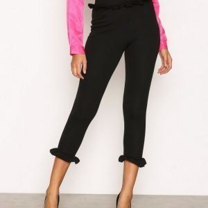 Nly Trend Jersey Frill Pants Housut Musta