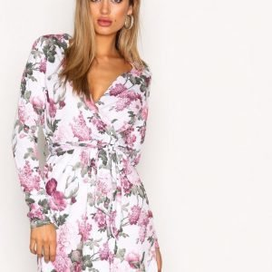 Nly Trend Jersey Wrap Dress Loose Fit Mekko Flowers