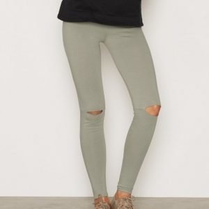 Nly Trend Knee Cut Leggings Trikooleggingsit Khaki