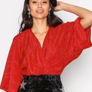Nly Trend Knot Pleat Kimono Top Trikoopusero Punainen