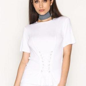 Nly Trend Lace Up Corset Tee T-Paita Valkoinen