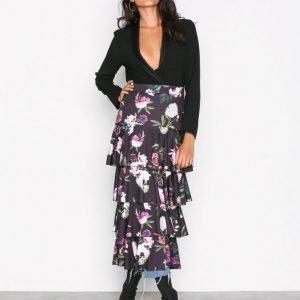 Nly Trend Layered Print Midi Skirt Midihame Musta