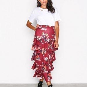Nly Trend Layered Print Midi Skirt Midihame Wine