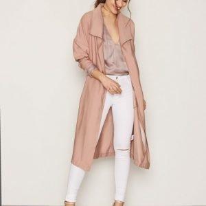 Nly Trend Long Parka Coat Pitkä Takki Vaaleanpunainen