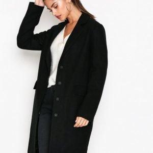 Nly Trend Long Wool Coat Pitkä Takki Musta