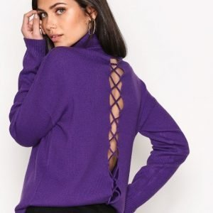 Nly Trend Loose Lace Up Knit Neulepusero Violetti