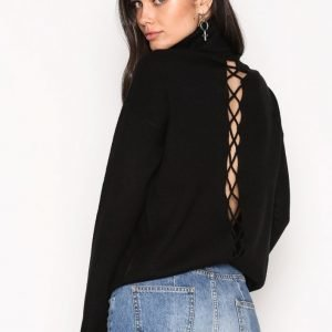 Nly Trend Loose Lace Up Knit Poolopusero Musta
