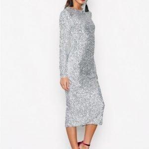 Nly Trend Midi Sequin Dress Paljettimekko Hopea