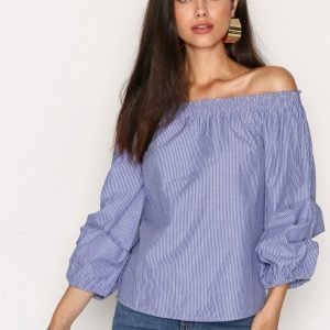 Nly Trend Off Shoulder Sleeve Blouse Arkipaita Sininen / Raidallinen