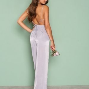 Nly Trend Open Back Jumpsuit Harmaa