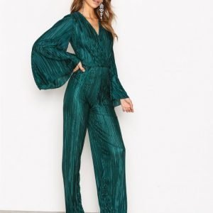 Nly Trend Pleated Kimono Jumpsuit Dark Green