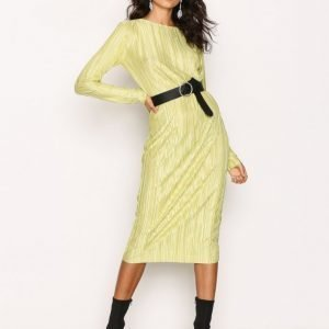 Nly Trend Pleated Midi Dress Loose Fit Mekko Lime