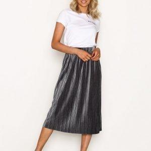 Nly Trend Pleated Velvet Skirt Midihame Harmaa