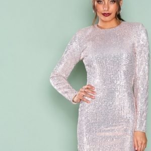 Nly Trend Power Sequin Dress Paljettimekko Champagne