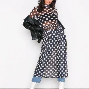 Nly Trend Print Mesh Dress Pitkähihainen Mekko Pilkullinen