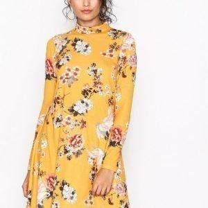 Nly Trend Print Swing Dress Pitkähihainen Mekko Keltainen