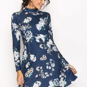 Nly Trend Print Swing Dress Skater Mekko Navy