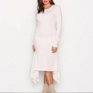Nly Trend Rib Frill Dress Pitkähihainen Mekko Beige