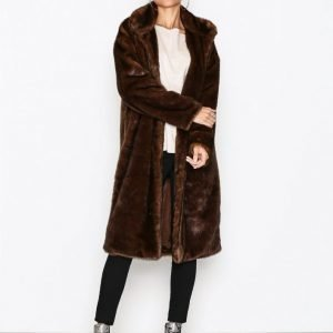 Nly Trend Royal Fur Coat Pitkä Takki Ruskea