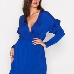 Nly Trend Satin Frill Wrap Dress Skater Mekko Cobalt Blue