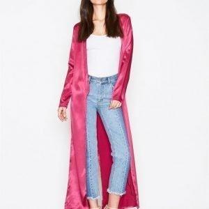 Nly Trend Satin Long Jacket Pitkä Takki Dusty Pink