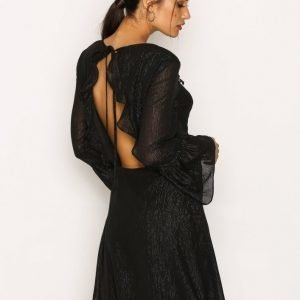 Nly Trend Shiny Frill Dress Skater Mekko Musta