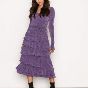 Nly Trend Sparkling Frill Skirt Midihame Violetti